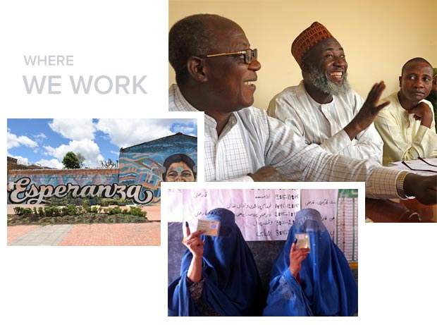 Colombia mural, nigeria pastor and imam, afghanistan women voters