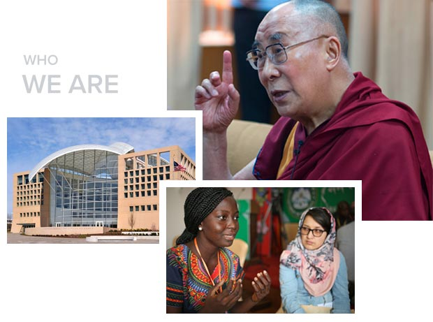 photos of USIP headquarters, the Dalai Lama, and students