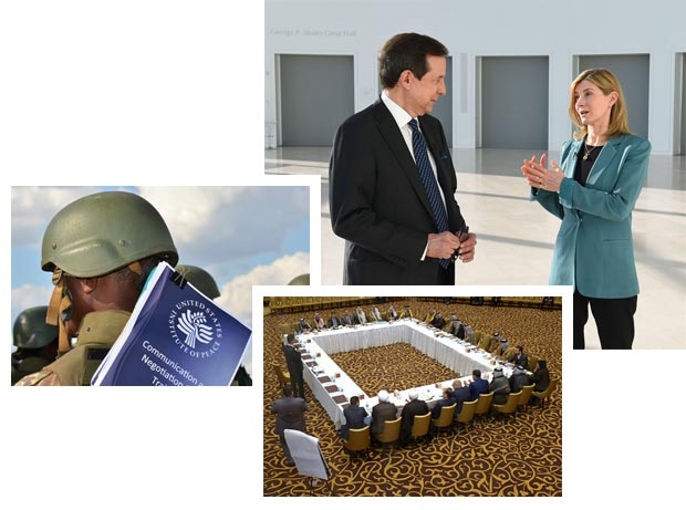 photo collage of Chris Wallace and Nancy Lindborg, soldier with USIP course toolkit, and Iraqi facilitators
