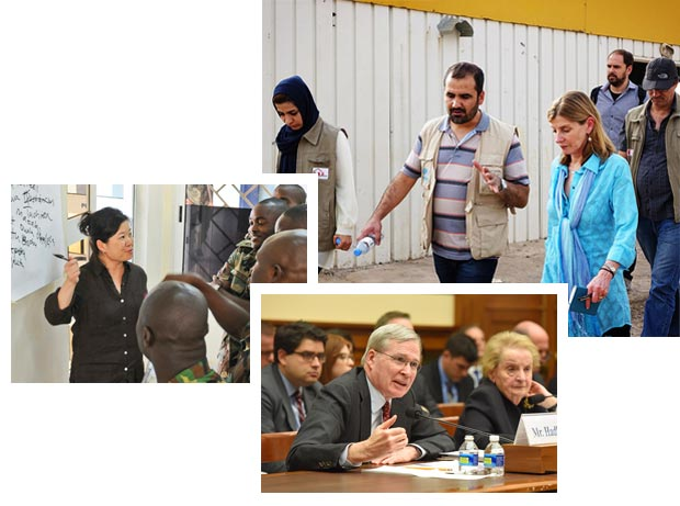 photo collage Nancy Lindborg in Iraq, Stephen J. Hadley testufying, and classroom instruction