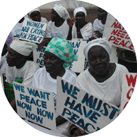 "Liberian women rally against their country's civil war, a campaign documented by the film ""Pray the Devil Back to Hell."" (Pewee Flomoku)"