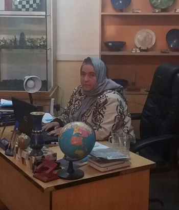 Ayesha Aziz works at her office, which is adorned by samples of Afghan gemstones and crafts.