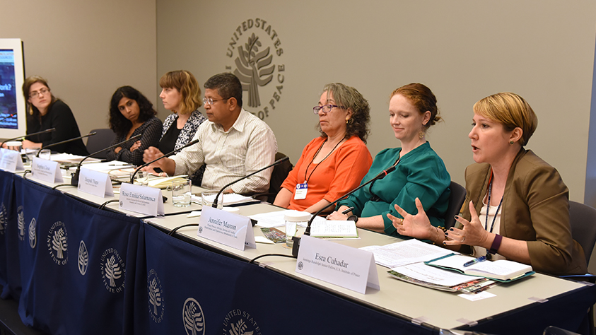 Jennings Randolph Senior Fellow C. Esra Çuhadar (right) speaks at a USIP conference on inclusive peace processes, May 18, 2018.