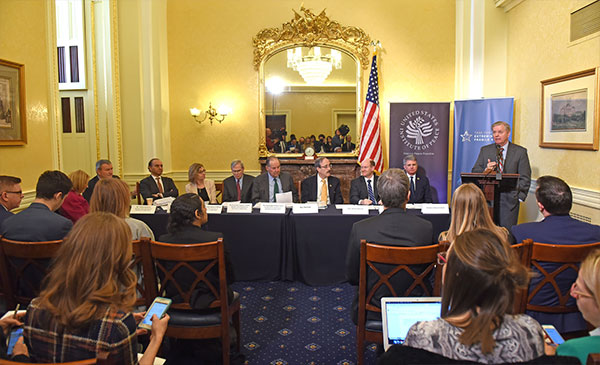 Ambassador Paula Dobriansky; Ambassador Karl Eikenberry; Mr. Farooq Kathwari; The Honorable Nancy Lindborg; The Honorable Stephen Hadley; Governor Thomas Kean (co-chair); Representaitve Eliot Engel (D-NY); Senator Chris Coons (D-DE); Representative Michael McCaul (R-TX); Senator Lindsey Graham (R-DC)
