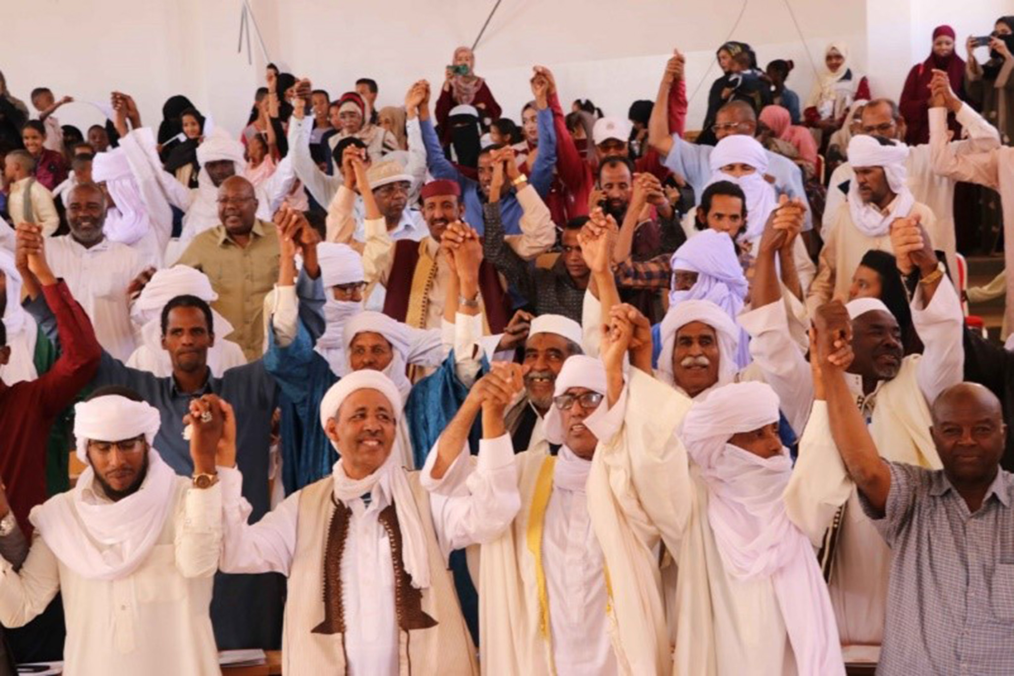 Members of different tribes in Ubari publicly commit to peace on International Peace Day, Ubari, Libya, Sept. 21, 2019.