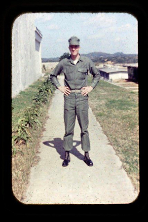 Second Lieutenant John Lancaster in Okinawa on his way to Vietnam in January 1968.