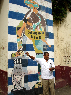 Mural showing Sandino in his battle against the US Marines (Leon, Nicaragua)