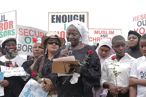 Pastor Esther Ibanga addresses rally.