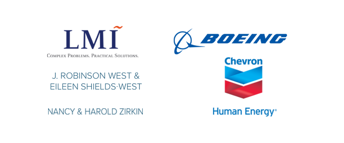 Logos for LMI, Boeing, Chevron, West, Zirkin