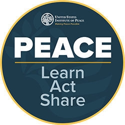 #peacedaychallenge Learn. Act. Train. badge
