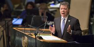 Colombian President Juan Manuel Santos delivers an address at the United Nations General Assembly, Sept. 29, 2015.