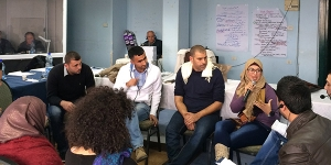 Palestinian NGO leaders participate in a facilitation training, including dialogue skills, in Ramallah, March 2014.