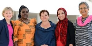 From left to right, USIP's Kathleen Kuehnast with awardees Victoria Kisyombe, Claudia Paz y Paz, Suaad allami and Priti Patkar.