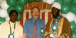 Nigerian pastor James Wuye (left), Dr. David R. Smock (center), and Imam Mohammed Ashafa.