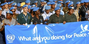 Peacekeepers serving the United Nations Integrated Mission in Timor-Leste (UNMIT) participate in United Nations International Day of Peace celebration. 21/Sep/2008.