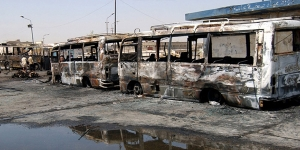 Buses parked near a terminal in central Baghdad were destroyed by two car bombs at 7:50 a.m. August 17, 2005.