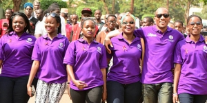Shubey Nantege (fourth from left) helps lead Go Girl Africa's participation in a Youth Aids Walk in Kampala, Uganda, in October 2015.  Credit: Go Girl Africa