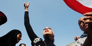 Women's presence in Tahrir Square during a protest against the Military Trial for civilians.