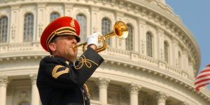 Bugler in front of capitol