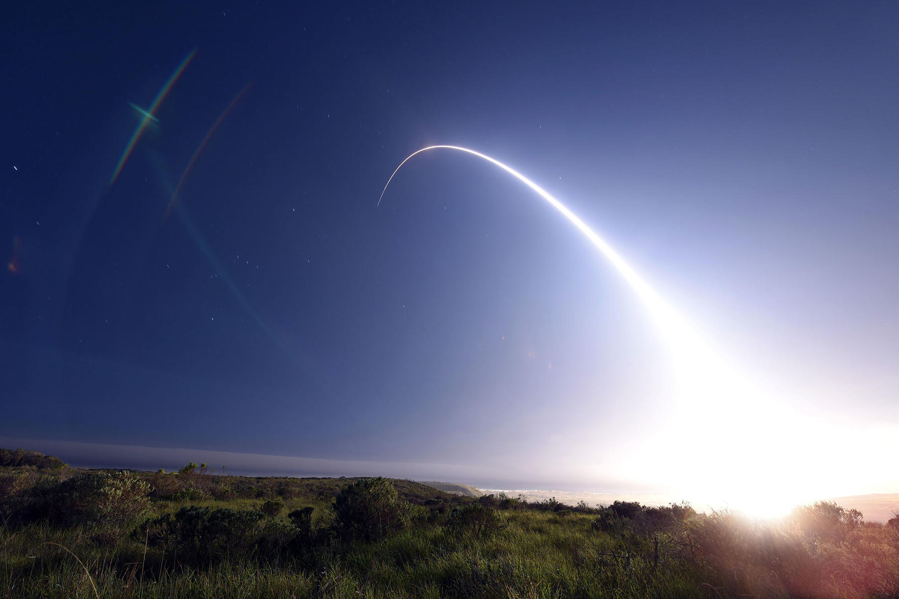 An unarmed Minuteman III intercontinental ballistic missile (ICBM), equipped with a test reentry vehicle, is launched during an operational test at Vandenberg Air Force Base, California. (U.S. Air Force Photo by Senior Airman Kyla Gifford)