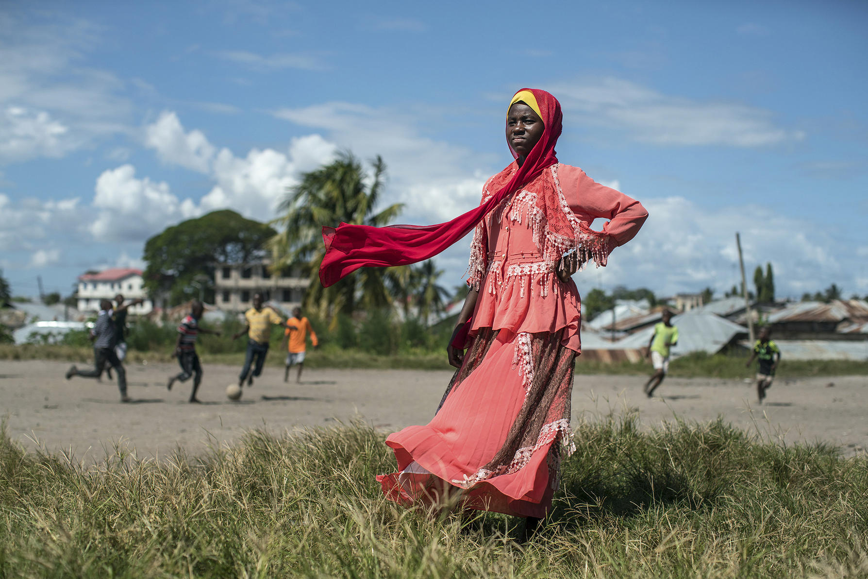 Farida Hamisi Kopnibo, 14, a soccer player on a club team in Zanzibar, by the makeshift pitch in the Meya neighborhood where she learned to play by joining pickup games with the boys