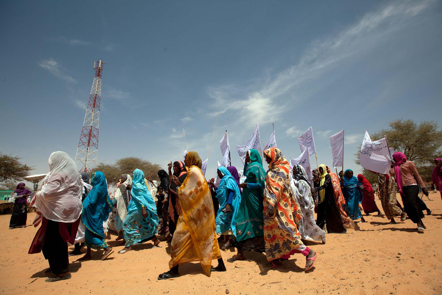 Women march in Al Koma village, North Darfur. Photo courtesy of Albert González Farran, UNAMID.