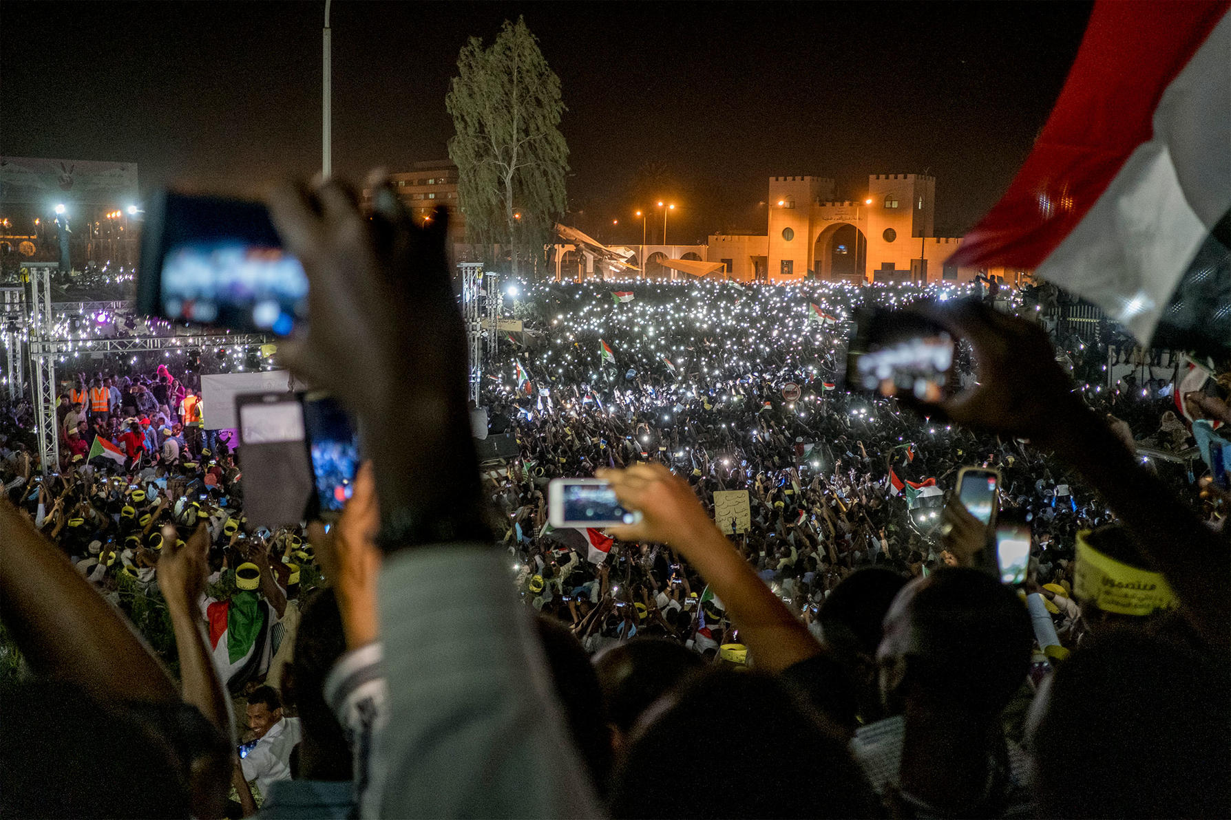 Protesters at a night rally outside the military headquarters in Khartoum, Sudan, April 2019