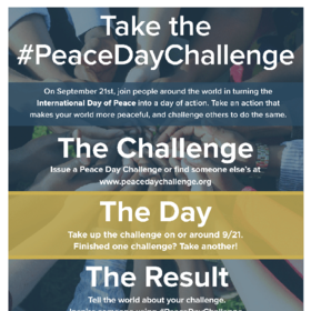 Peace Day Challenge flyer in English