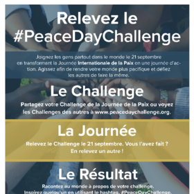 Peace Day Challenge flyer in French