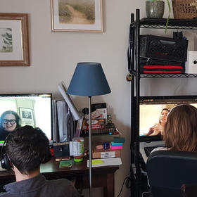 Students participate in distance learning during the pandemic, April 28, 2020. USIP's Peace Teachers have had to pivot to new forms of teaching like this as social distancing protocols are being observed. (Department of Defense)