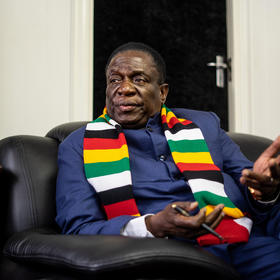 Zimbabwe's President Emmerson Mnangagwa, at his office in Harare in 2019, dismisses assertions by Zimbabwean and international human rights organizations that he has sustained the state's historic pattern of abuses. (Zinyange Auntony/The New York Times)