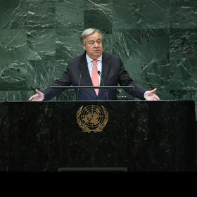 U.N. Secretary-General António Guterres called for a global cease-fire to combat COVID back on March 23. (Chang W. Lee/The New York Times)