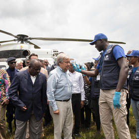 Secretary-General António Guterres visits the Democratic Republic of the Congo to take stock of and mobilize additional support for the response to the Ebola outbreak, Sept. 1, 2019. (UN Photo/Martine Perret)