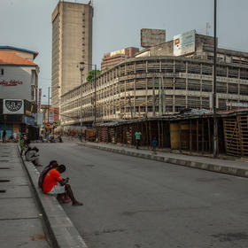 A nearly empty street market in Lagos, Nigeria, April 12, 2020. (Yagazie Emezi/The New York Times)