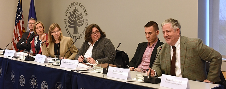 Ambassador Laurence Wohlers, Louisa Lombard, Nancy Lindborg, Tatiana Carayannis, Ledio Cakaj, Roland Marchal