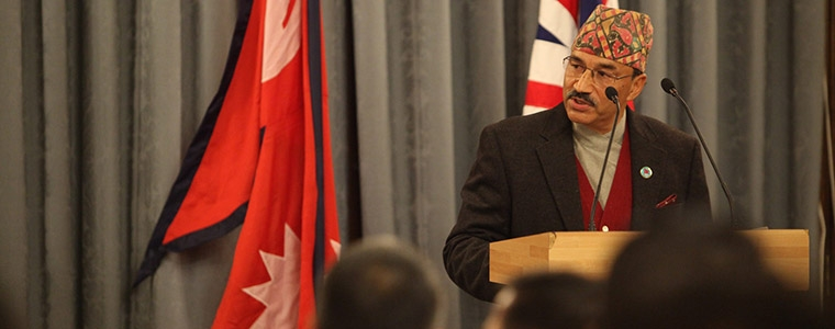 Kamal Thapa, Deputy Prime Minister and Minister for Foreign Affairs of Nepal speaking at the UK-Nepal bicentenary event at the Foreign & Commonwealth Office in London, 16 December 2015.