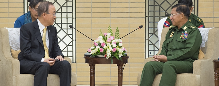 Secretary-General Ban Ki-moon (left) meets with Senior General Min Aung Hlaing, Commander-in-Chief of the Myanmar Armed Forces. Photo Courtesy of U.N. Photo/Eskinder Debebe