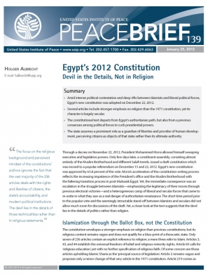 Peace Brief: Egypt's 2012 Constitution