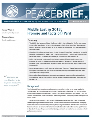 Peace Brief: Middle East in 2013: Promise and (Lots of) Peril