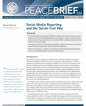 Social Media Reporting and the Syrian Civil War