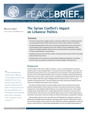 The Syrian Conflict's Impact on Lebanese Politics peacebrief cover