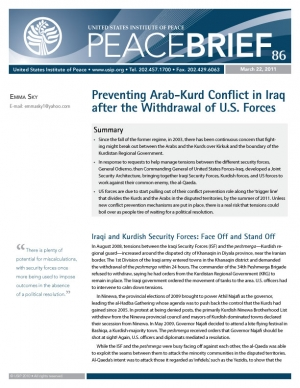 Peace Brief: Preventing Arab-Kurd Conflict in Iraq after the Withdrawal of U.S. Forces