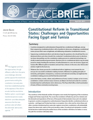Peace Brief: Constitutional Reform in Transitional States: Challenges and Opportunities Facing Egypt and Tunisia