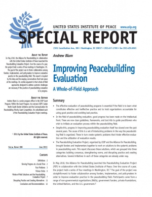 Special Report:  Improving Peacebuilding Evaluation