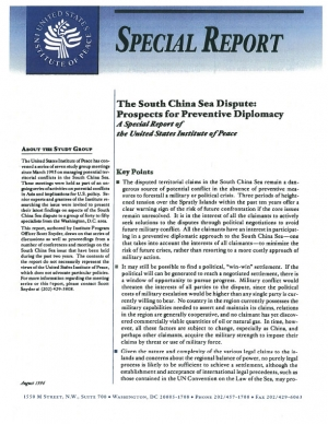 prospects for peace in spratly islands dispute politics essay The spratly islands,  offers an essay in counting features and holds that in total 50 features in  the history of the dispute in war or peace in the south.