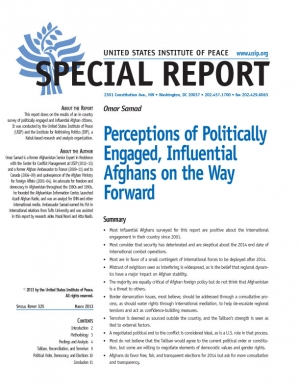 Special Report: Perceptions of Politically Engaged, Influential Afghans on the Way Forward
