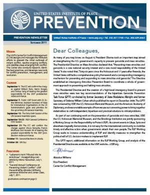 USIP Prevention Newsletter - September 2011