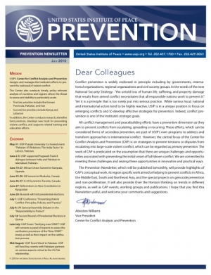 USIP Prevention Newsletter - July 2010