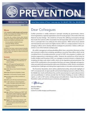 USIP Prevention Newsletter - January 2011