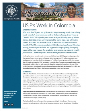 USIP Fact Sheet: The Current Situation in Colombia
